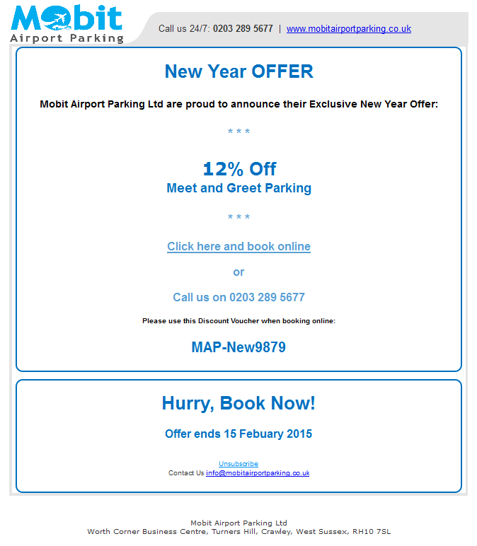 New Year Parking Offer