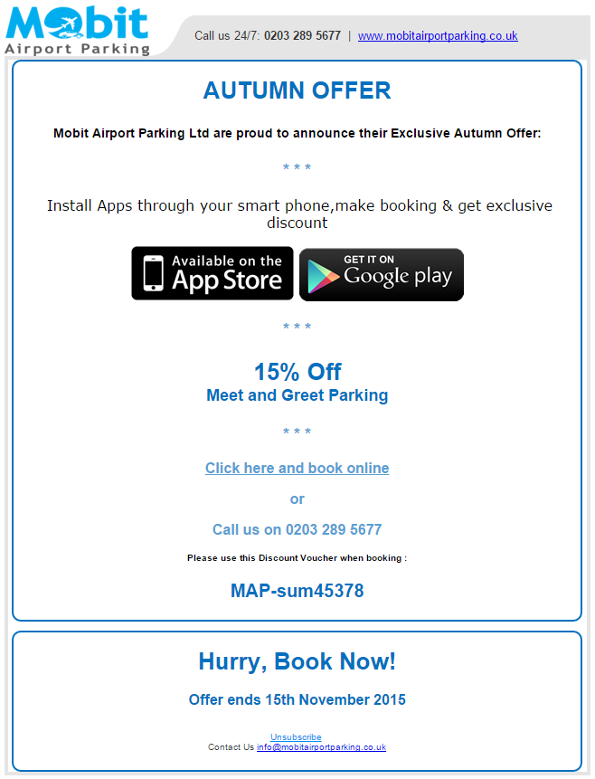 UK Airport Parking Deal 2015