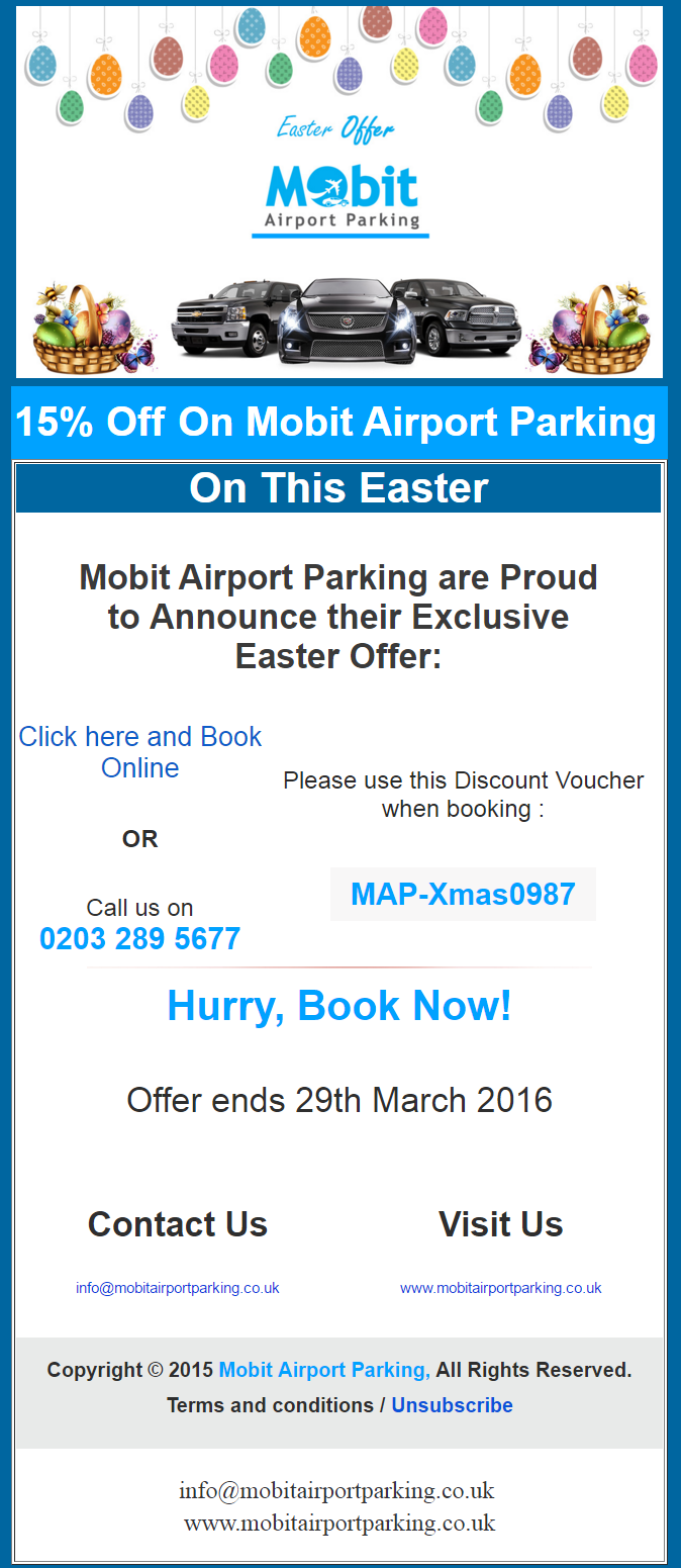 Mobit Airport Parking Easter Offer 16 March 2016