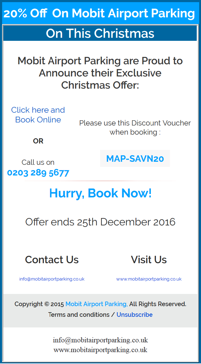 Admin mobit airport parking blog 20 christmas discount 2016 also read get instant 20 discount on meet and greet airport parking kristyandbryce Image collections